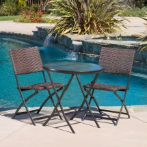 3-piece Folding Portable Patio Bistro Chair Table Outdoor