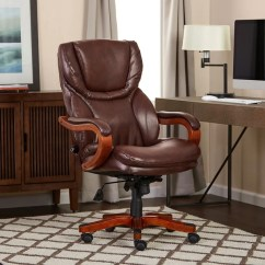 Serta Bonded Leather Executive Chair Wooden High Tray Shop Brown Big And Tall Office