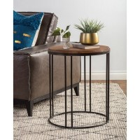 Shop Burnham Reclaimed Wood and Iron Round Side Table by ...