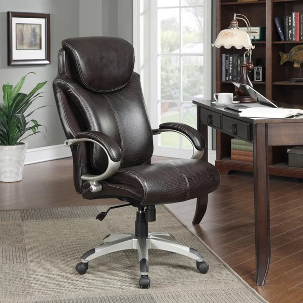 serta bonded leather executive chair outdoor wooden folding chairs air tall roasted chestnut office - 16099133 overstock.com shopping ...