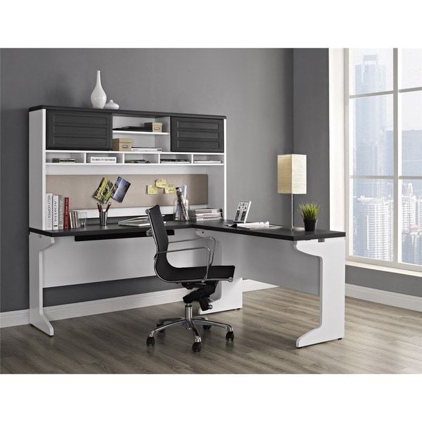 Shop Ameriwood Home Pursuit White Ldesk with Hutch Office