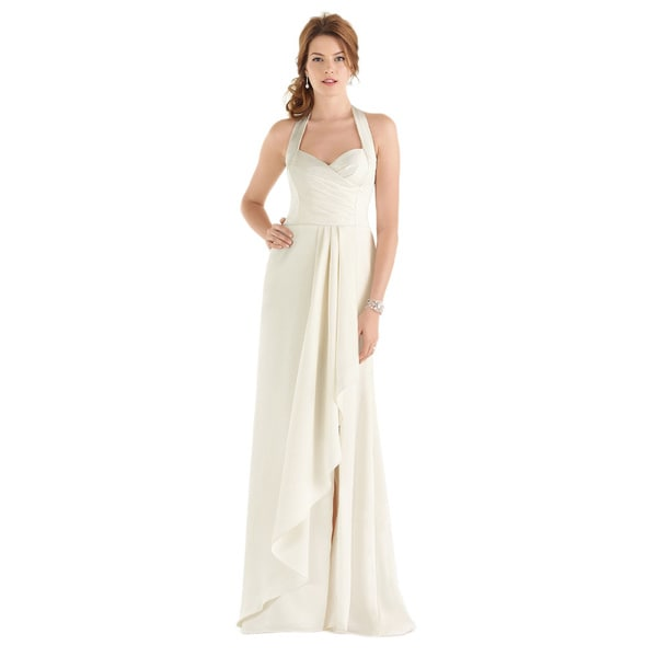 Shop Dessy After Six Bridal Style Womens Draped Bodice Halter Wedding Gown  Free Shipping