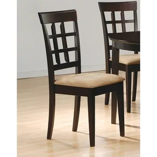 suede dining table chairs brown wooden folding buy kitchen room online at overstock com our coaster company monarch cappucino 39 inch lattice back set of 2
