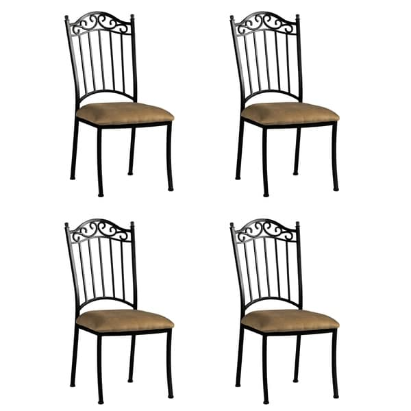 wrought iron dining chairs baby nursery shop somette antique taupe suede chair set of 4