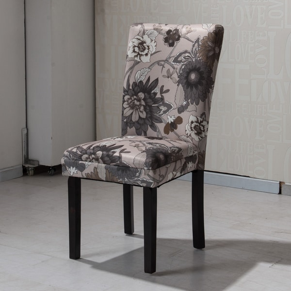 parson dining room chairs upholstered chair shop hlw arbonni cream grey floral modern (set of 2) - free shipping today ...