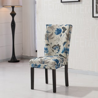 HLW Arbonni Blue Floral Fabric Modern Parson Chairs Set of 2