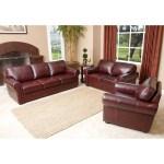 Abbyson Living Bella Burgundy Leather 3 Piece Sofa Set