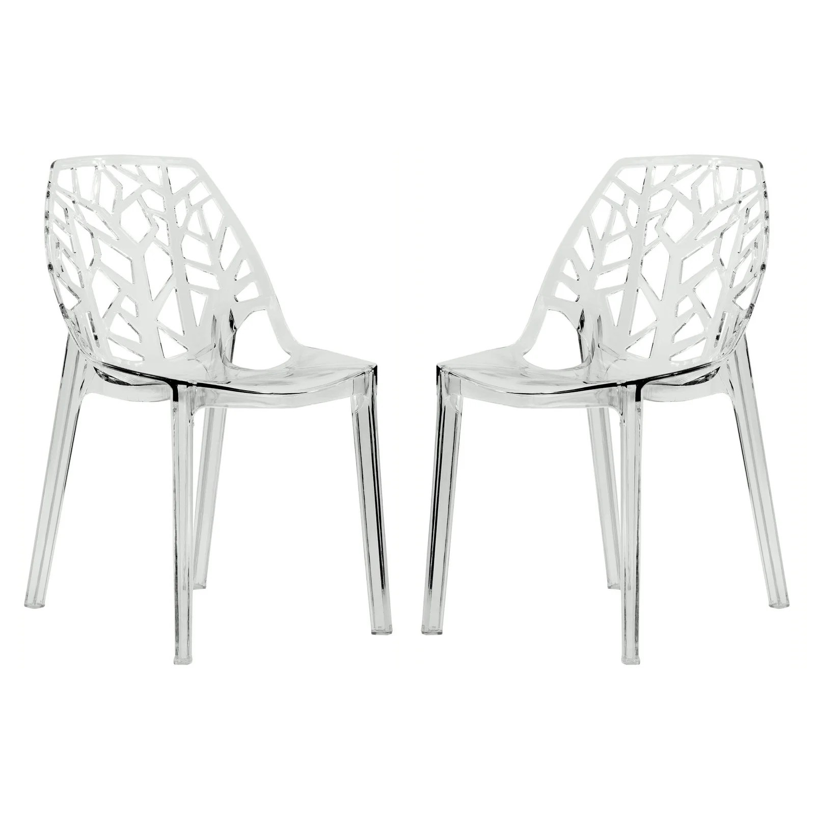 Plastic Clear Chair Details About Leisuremod Modern Flora Clear Cut Out Plastic Dining Chairs N A