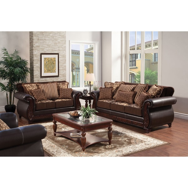 2 piece brown leather sofa 3 seater for office shop furniture of america traditional franchesca fabric leatherette set on sale free shipping today overstock com 8942332