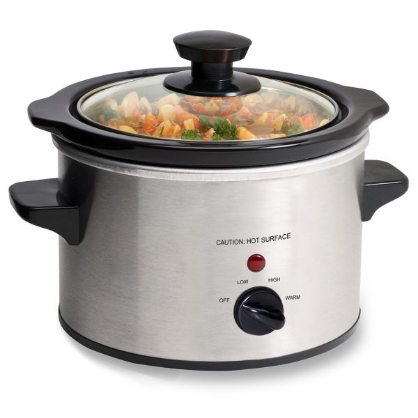 Stainless Steel 1.5-quart Mini Slow Cooker With Removable Stoneware Pot