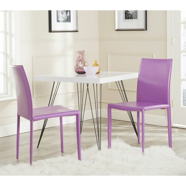 safavieh karna dining chair solid oak chairs shop mid-century purple bonded leather (set of 2) - free ...