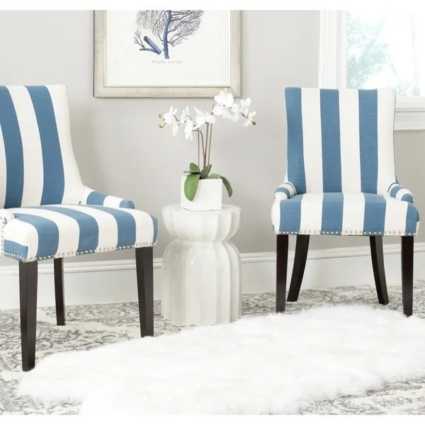 blue and white dining chairs toy baby doll high chair shop safavieh en vogue lester stripe polyester blend set of