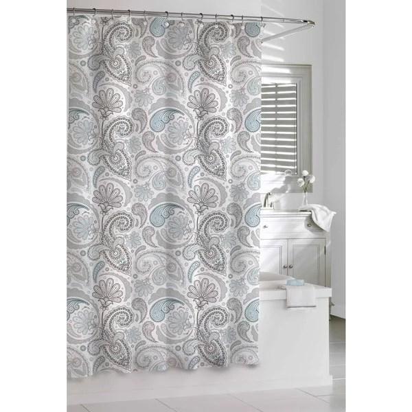 Shop Garden Paisley Blue Grey Shower Curtain Free