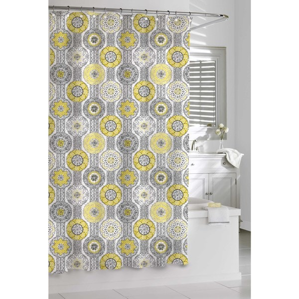Shop Mosaic Yellow And Grey Shower Curtain Free Shipping Today Overstock 8973867