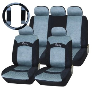 Adeco 12-piece Car Vehicle Seat Covers with Steering Wheel Cover and Safety Belt Covers