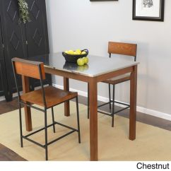 Pub Table And Chairs 3 Piece Set 2 Small Bedroom Chair Tesco Darby Stainless Steel Top Bar - Free Shipping Today Overstock.com 16186801