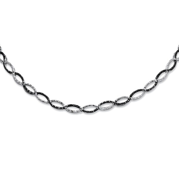 Shop Silver Tone Round Genuine Black, Diamond Collar