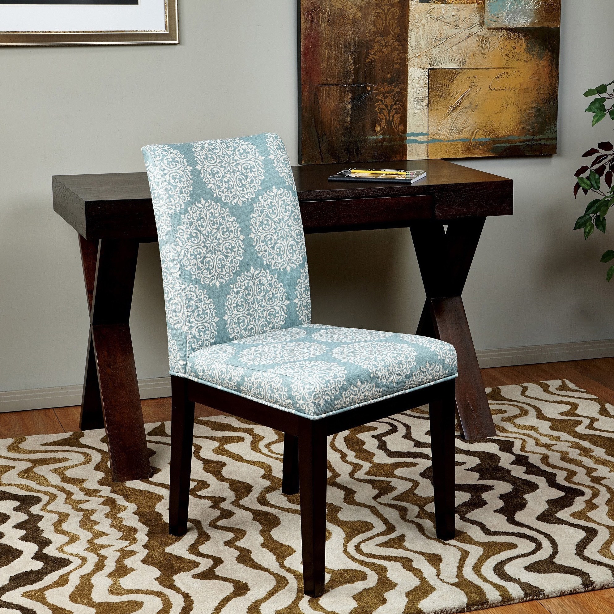 overstock com dining room chairs sitting chair styles shop parsons versailles medallion upholstered armless