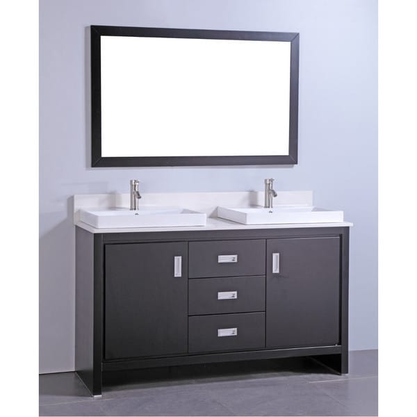 Articial Stone Top 60inch Double Sink Bathroom Vanity with Matching Mirror  Overstock Shopping