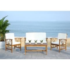 Patio Chair Glides Rectangular Canada Outdoor Wooden Rocking Overstock The Best Deals Online Furniture Bedding Jewelry More Safavieh Fontana Beige Acacia Wood 4 Piece Set