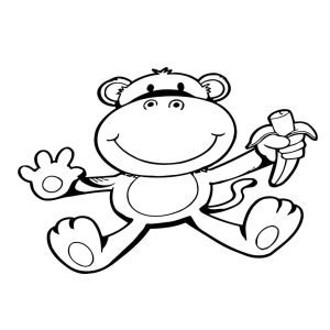 Monkey with Banana Vinyl Wall Decal Art Sticker