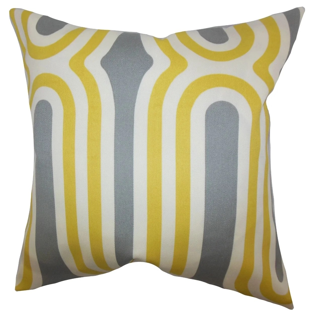 Persis Geometric Feather and Down Filled Throw Pillow Yellow