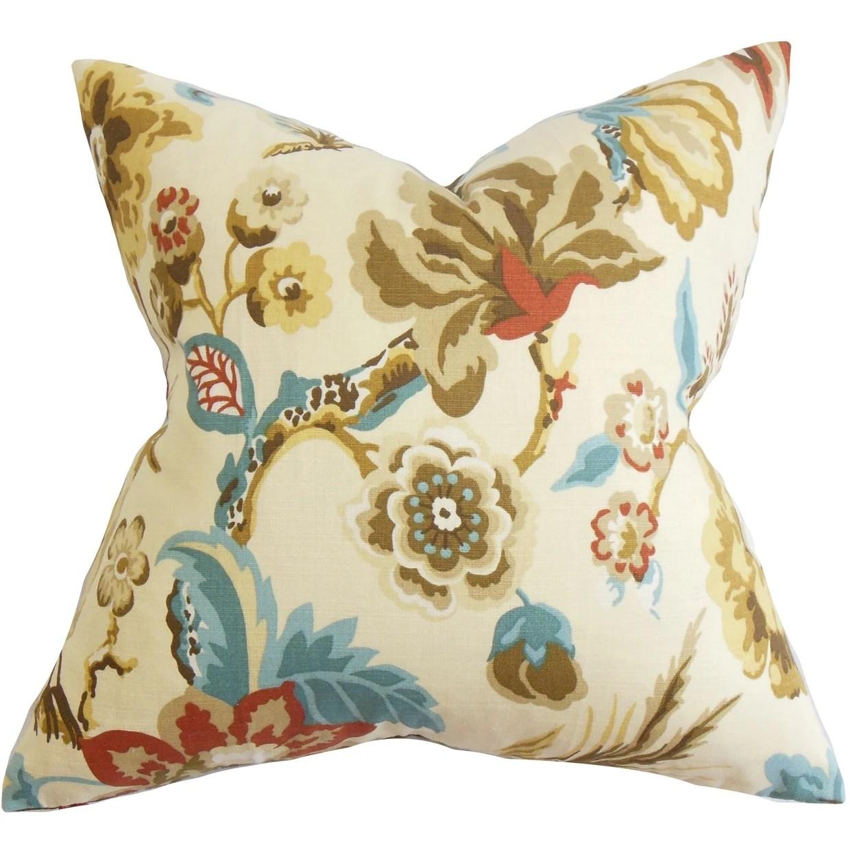 Chaya Floral Down Fill Throw Pillow Natural