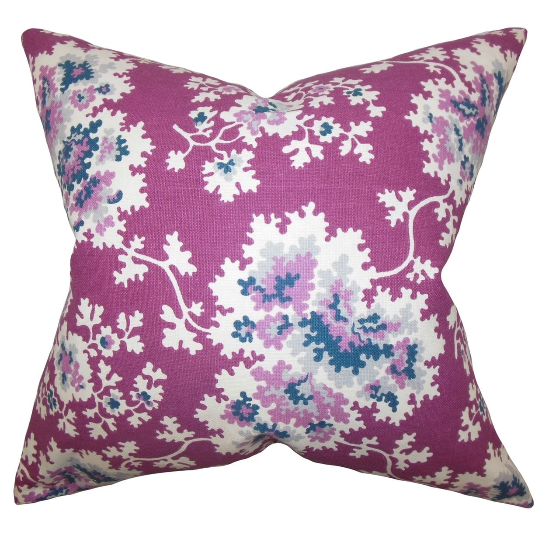 Danique Floral Down Fill Throw Pillow Purple