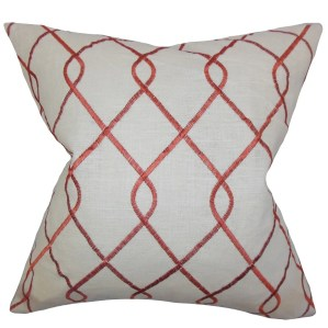Jolo Geometric Down Fill Throw Pillow Rosewood