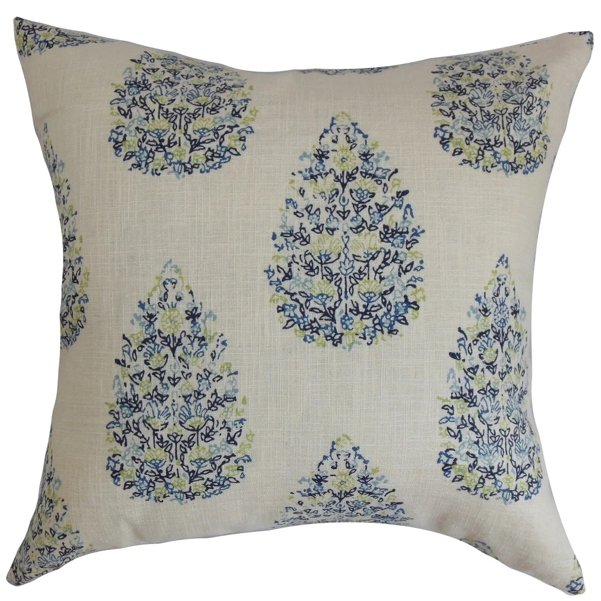Faeyza Floral Blue Green Down Filled Throw Pillow