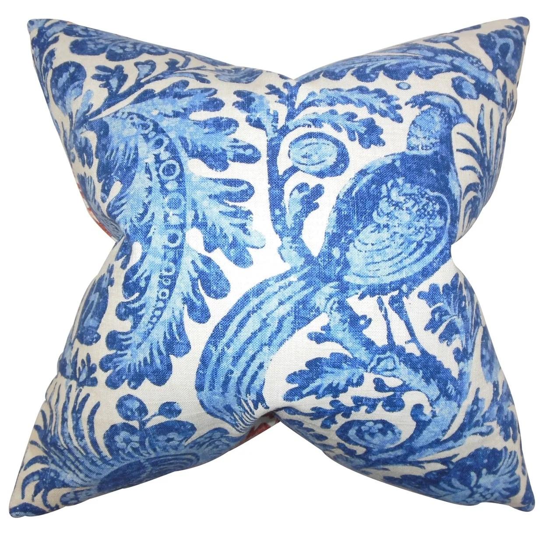 Cadeau Blue Floral Down Filled Throw Pillow