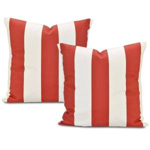 Exclusive Fabrics Cabana Spice Stripe Cotton Throw Pillow Cover (Set of 2)