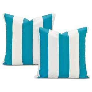 Exclusive Fabrics Cabana Teal Printed Cotton Throw Pillow Cover (Set of 2)