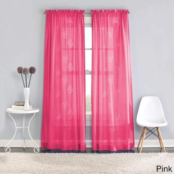 Butterfly Lazer Sheer Curtain Panel Pair Free Shipping On Orders