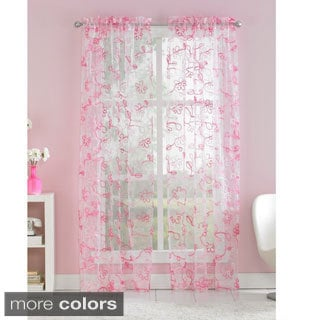 Ribbon Trim Floral Sheer Curtain Panel Pair Free Shipping On