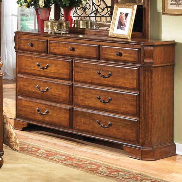 Shop Signature Design by Ashley Wyatt Cherry Wood 9drawer Dresser  Free Shipping Today