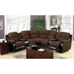 Sectional Sofas Recliners Brown And Orange Sofa Shop Ransol With 2 End Upholstered In Elephant Skin Microfiber Amp Leatherette