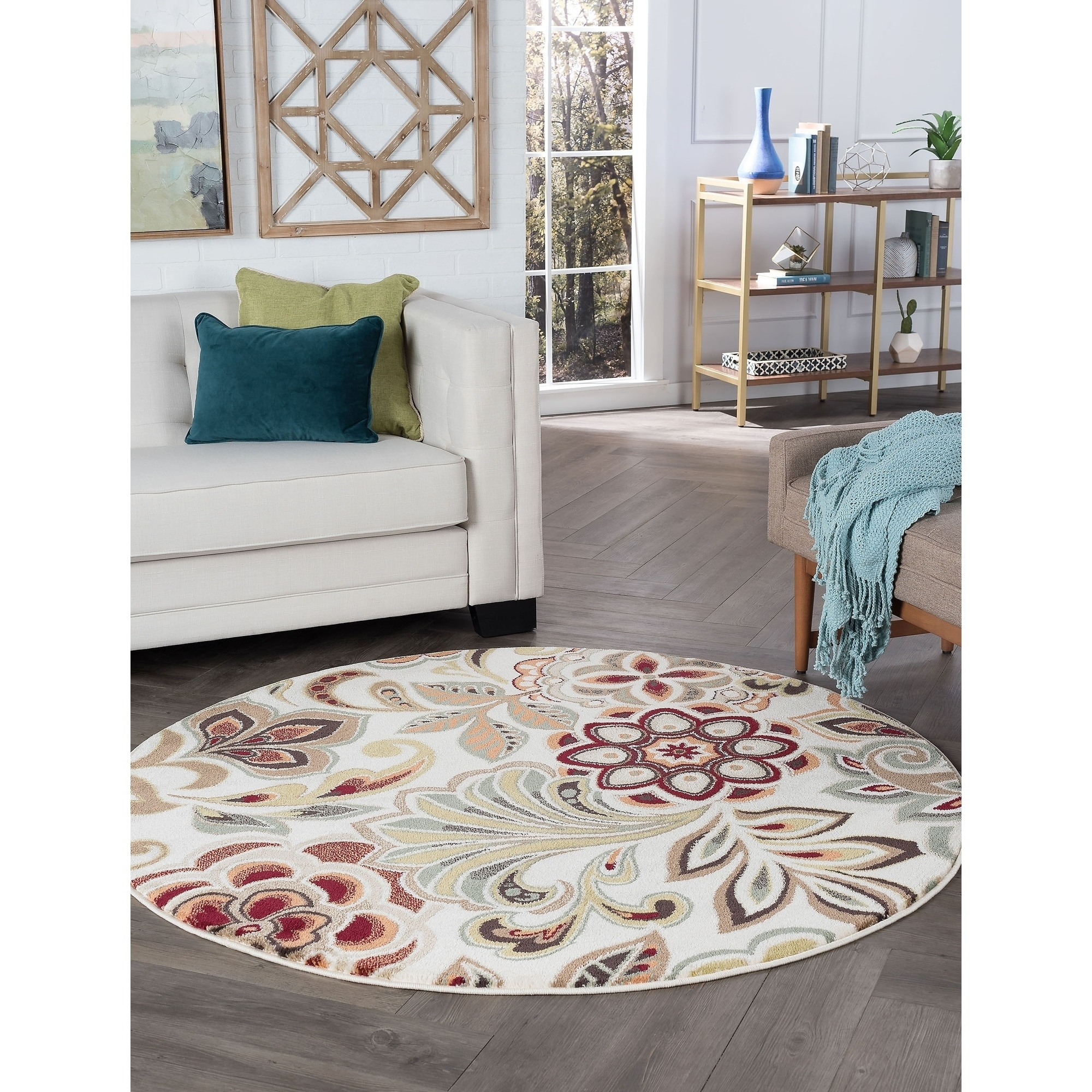 Alise Rugs Decora Transitional Floral Round Area Rug