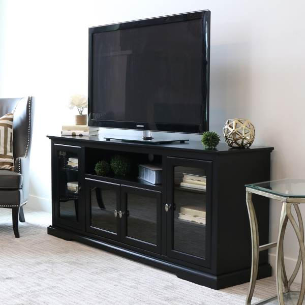 70- Black Wood Highboy Tv Stand - Free Shipping Orders Over 45 9067312