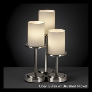 Justice Design Group Fusion Dakota 3-light Brushed Nickel Table Lamp