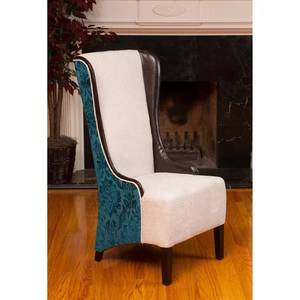 Shop Bacall HighBack Ivory and Teal Fabric Chair  Free