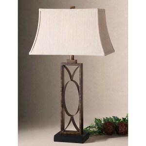 Uttermost Manicopa Dark Bronzed Metal Geometric Table Lamp