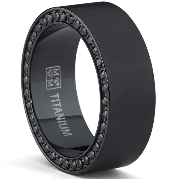 Oliveti Mens Plated Brushed Black Titanium Black Cubic