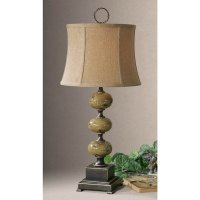 Distressed Green And Black Table Lamp