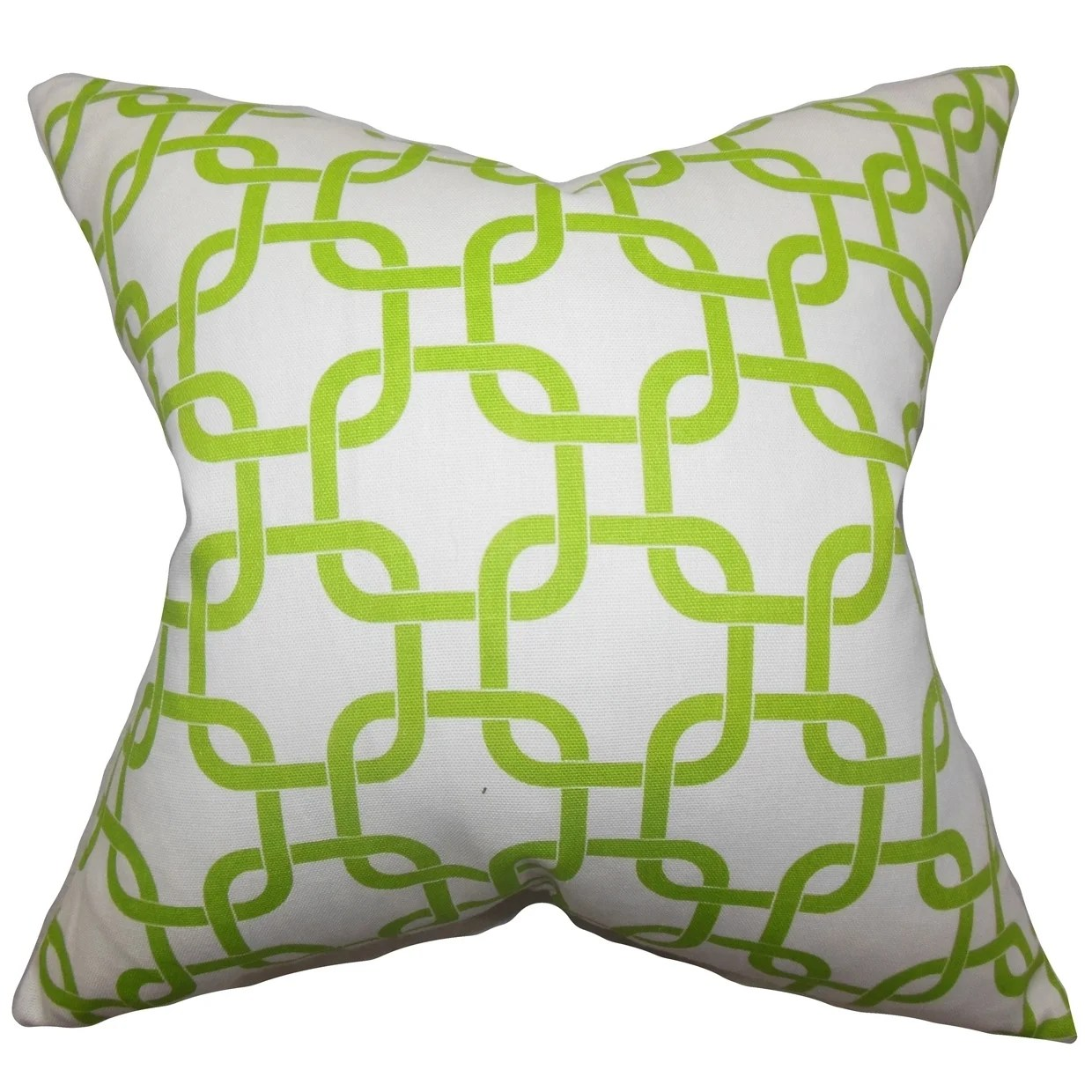 Qishn Geometric Green White Feather Filled Throw Pillow