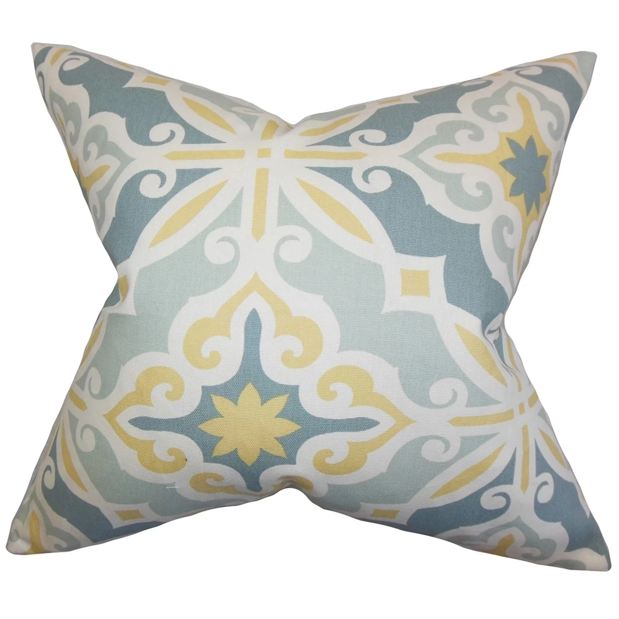 Adriel Geometric Blue Feather Filled 18-inch Throw Pillow