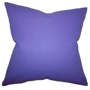Kalindi Solid Purple Feather Filled 18-inch Throw Pillow
