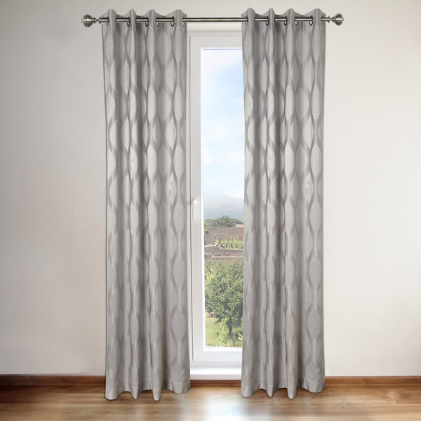 Shop Annabelle Grey Faux Silk Grommet Top 84inch Curtain Panel Pair  Free Shipping Today