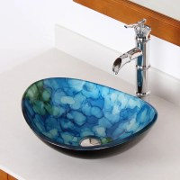 Shop Elite Unique Oval Tempered Glass Bathroom Vessel Sink