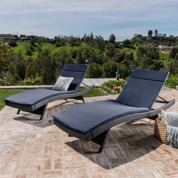 Toscana Outdoor Cushioned Wicker Chaise Lounge By Christopher Knight Home Set Of